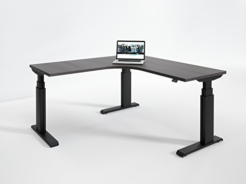 Elegante Electric Height Adjustable Sit Stand Desk,  Made in the USA,  L-Shape,  Black Base,  24