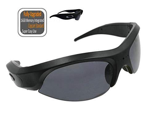 FocusHD 1080P Sunglasses Action Camera 16GB Memory Integrated, UV400 Anti-Impact Lens Video Eyewear Camcorder for Outdoor ()