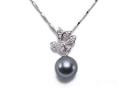 JYX Pearl 18K Gold Pendant AAA Quality 10.5mm Black Tahitian Pearl Pendant Necklace Dotted with Diamonds