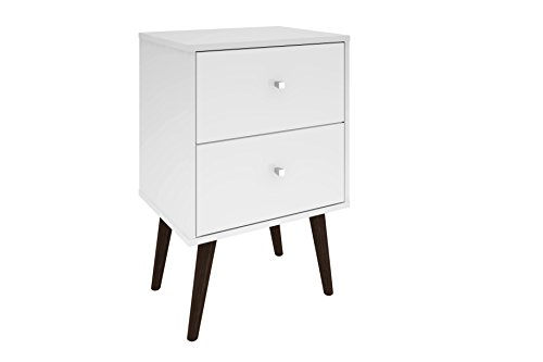 Bedroom Manhattan Comfort Liberty Collection Mid Century Modern Nightstand With Two Drawers, Splayed Legs, White modern bedroom furniture