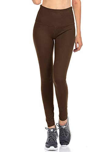 VIV Collection Signature Leggings Yoga Waistband Soft (L, Dark Brown)