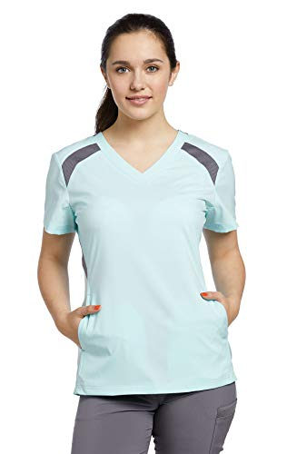 Fit by White Cross Women's V-Neck Mesh Contrast Solid Scrub Top Small Moonlight Jade/Pewter