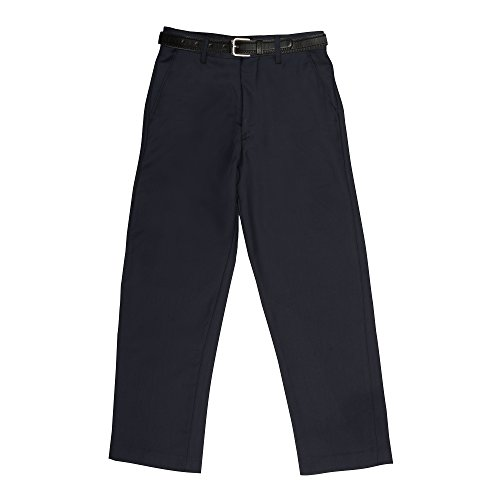 (Vittorino Boy's Tailored Fit Flat Front Dress Pants With Detachable Belt Navy, 4)