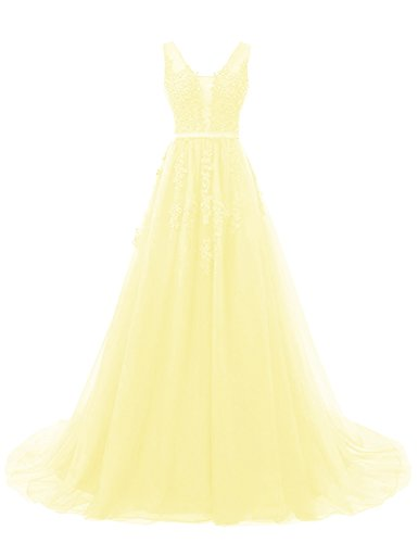 KAMA BRIDAL Women's Lace Appliques V Neck Long Prom Dresses A Line Tulle Evening Gowns US12 Daffodil