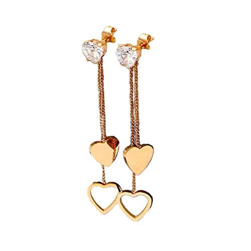 Titanium Steel Rose Gold Plated Hollow Heart Shape Tassel Cubic Zircon Ear Stud Dangle Earrings