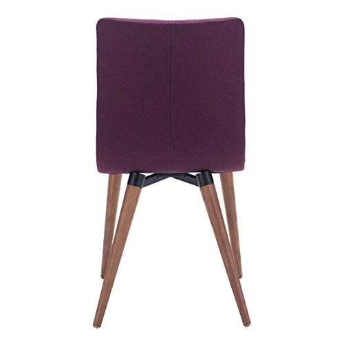 Poly-linen Upholstered Seam Detail Zuo Modern 100275 Jericho Dining Chairs Set of 2 Purple Dimensions 17.7W x 33.9H x 20.9L Sturdy all Wood Legs in Warm Walnut Finish Slim Seat//Back Design
