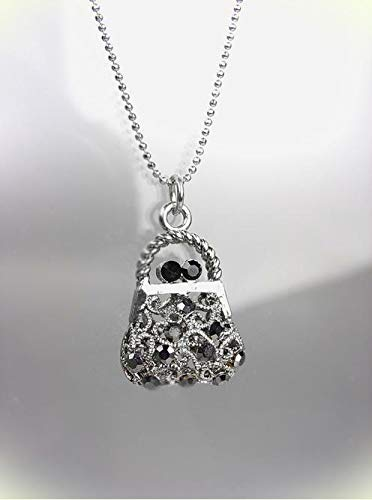 Sparkle Silver Filigree Marcasite Crystals Purse Bag Pendant Necklace For Women