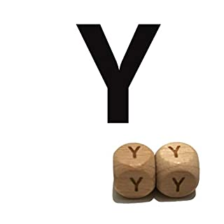 Alenybeby Baby Teething Accessories 100pc 12mm Square Shape Beech Wood Letter Beads Teether Toy DIY Jewelry Beads (Y 100pcs)