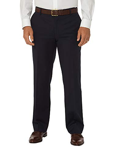 Paul Fredrick Men's Slim Fit Wool Gabardine Flat Front Pant Navy 42