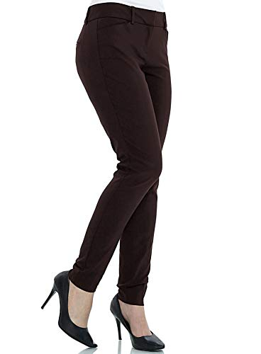 (YTUIEKY Womens Dress Pants, Casual Slim Fit Super Stretch Comfy Skinny Career Straight Fit Trouser Leg Pants (Brown, 6))