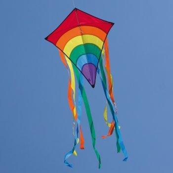CIM Kinderdrachen - Rainbow Eddy Blue - Einleiner-Drachen für Kinder ab 3 Jahren - Abmessung: 65x74cm - inkl. 80m Drachenschnur und 8x105cm Streifenschwänze Colours in Motion