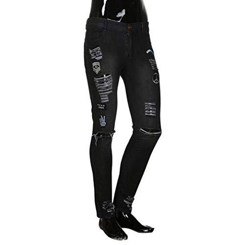 Fit Skinny Stretch Distrutti Chern Con Giovane Jeans Nero Da Pantaloni Aderenti Denim Casual Strappati Uomo Fori Slim Vintage qwxFUCnfW