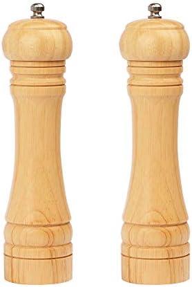 BeIM Juego de 2 molinillos de sal y pimienta manuales con mecanismo de cerámica, grosor ajustable, de madera, 21,5 cm