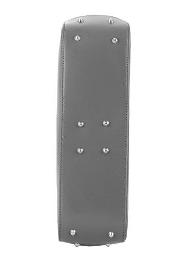 WALTER VALENTINO echte italienische Kalbs Leder Schultertasche, Henkeltasche ca. 38x28x10 cm (BxHxT), 4952 Farbe: Grau
