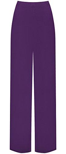 WearAll Plus Size Women's Palazzo Trousers - Purple - US 12-14 (UK 16-18)