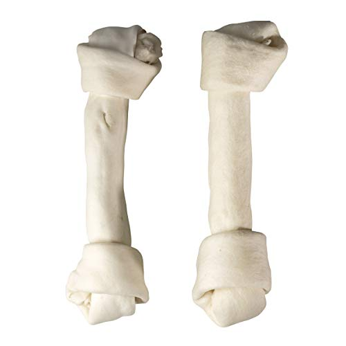 TheLittleThingsThatCount Premium 12 Inch Natural Rawhide Knotted Bones Chews Treats for Large Dogs Re-sealable Bag FDA Approved - 2pc Pack ()