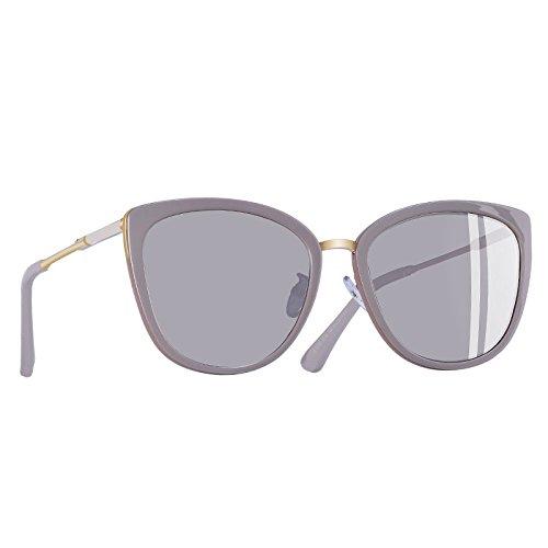 metálicas polarizadas de gafas de Moda Gato sol de patas UV400 C5Silver Ojo Gafas Mujer pequeño TIANLIANG04 C4Brown sombras PxqBzOUw8