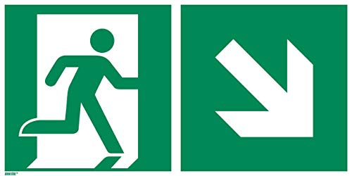 Photoluminescent Vinyl - Emergency exit Down and Right, photoluminescent Vinyl 12 x 6 inches Rescue Sign, ISO 7010 [E002], Pack of 1