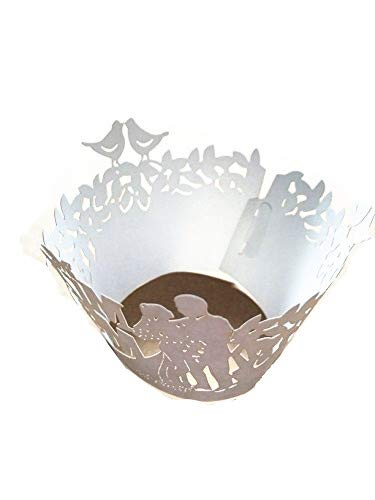 Pack of 120 Mr & Mrs Filigree Paper Laser Cut Cupcake Wrappers Wedding Engagement Party Cake Stencil Cupcake Liners Fancy Flower Lace Wrapper Wraps Collars Color White]()