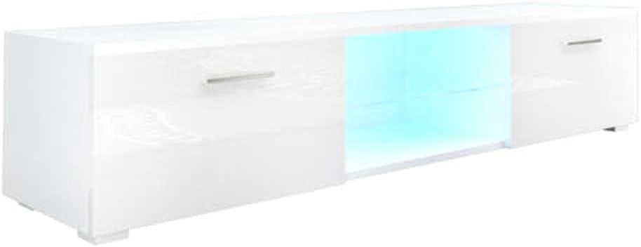 "63"" White High Gloss TV Stand Unit Cabinet Entertainment Center 2LED Shelf Drawer"