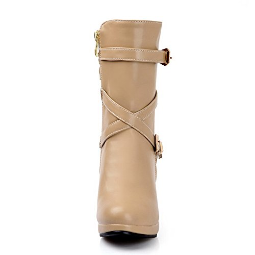 Closed Short Plush Apricot Banage AmoonyFashion and M with Material 5 Stiletto Womens Solid PU Toe Soft B Round US Boots AwxCgq5p