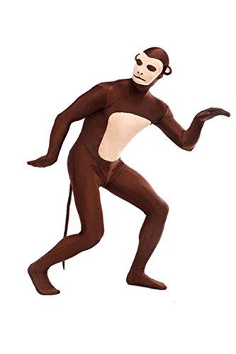 Animal Costume Monkey Pretend Play Rabbit Ear Adult Zentaisuit Lycra Spandex Bodysuit,XL