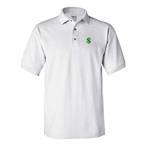Embroidery Sign - Speedy Pros Polo Shirt Dollar Sign A Embroidery Design Cotton Golf Shirt for Men White Large Design Only