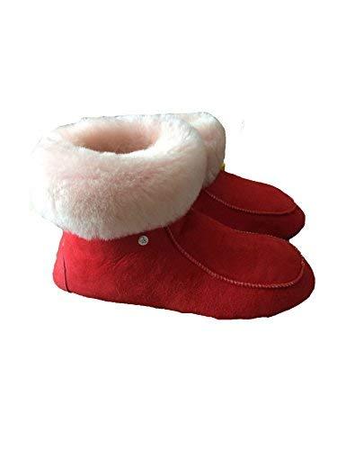 Rouge De En Chaussons blanc Laine Mouton WSwFSqPv0