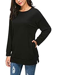 Women Batwing Long Sleeve Fall Side Split Loose Casual Pullover Tunic Tops with Pockets