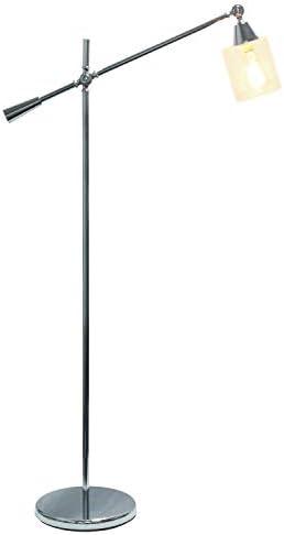 Elegant Desings LF1030-CHR Pivot Arm Glass Shade Floor Lamp
