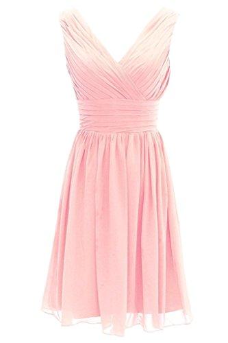Vestito V D'onore Donne Damigella Sera Jazylynbride Del Di Del scollatura Delle Partito Chiffon Da Breve Pink BqxtwSTS