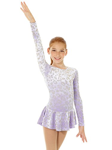 Lilac Ice Apparel - Mondor Born To Skate Glitter Velvet Dress 2723 (4-6, Lilac)