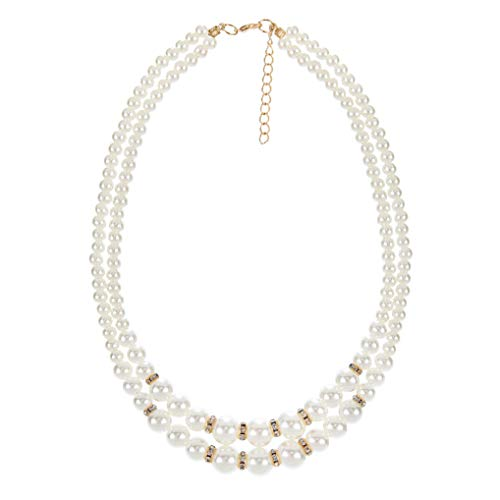 s Beads Necklace 1920s Gatsby Accessories Double Strand Pearl Necklace for Women Costume Jewelry ()