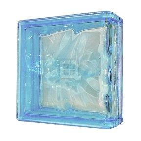 Quality Glass Block 7.5 x 7.5 x 3 Basic Wave Azure Color End Block