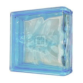 Seves Glass Block 7.5 x 7.5 x 3 Basic Wave Azure Color End Block