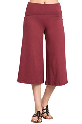 (HEYHUN Plus Size Women's Solid Wide Leg Flared Capri Boho Gaucho Pants - Mauve -)