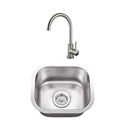 CAHABA CASC0047 14-1-2 x 13 18 Gauge Stainless Steel Single Bowl Bar Sink and Gooseneck Kitchen Faucet