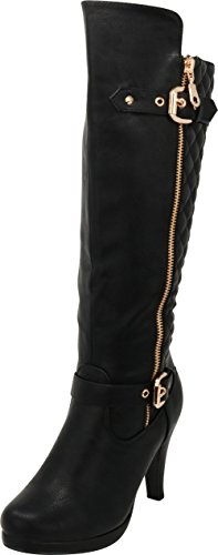 Cambridge Select Women's Closed Toe Quilted Buckle Strap Riding Platform High Heel Knee-High Boot,8 M US,Black ()