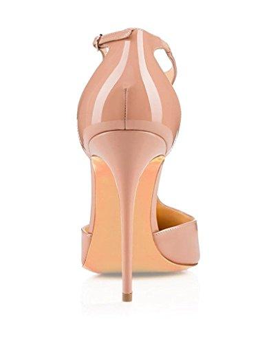 Donna Alla Scarpe A Chiusura Donna Beige T Tacco Col Caviglia sandali scarpe Donna Cinturino Edefs Con Hwz0qqC