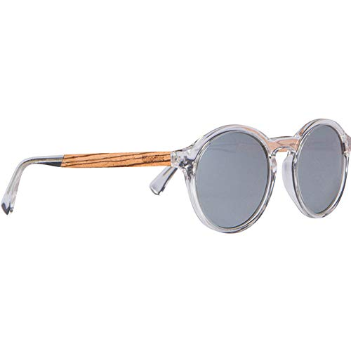 WOODIES Clear Acetate Round Sunglasses with Polarized Silver Lens in Wood Display Box
