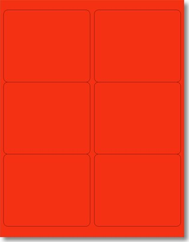 120 Label Outfitters 4 x 3-1/3 Fluorescent Red Labels, 20 Sheets