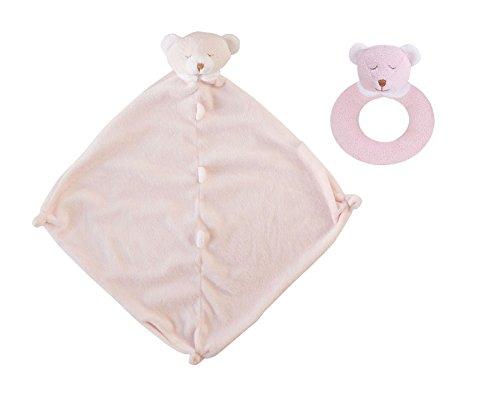 (Angel Dear Pink Bear Blankie & Ring Rattle Set.)