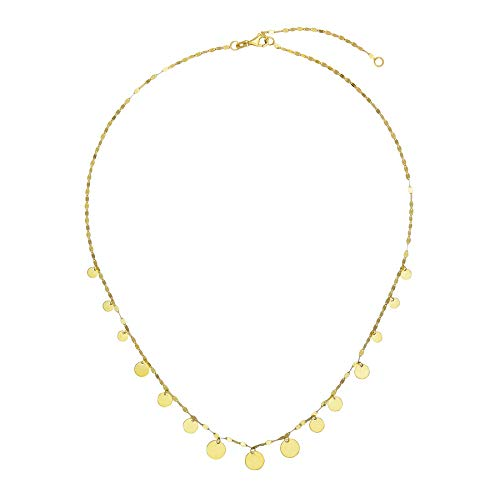 14k Italian Yellow Gold Mirror Chain Graduated Dangling Disc Necklace, Adjustable 16