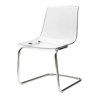 Sedie Plastica Trasparente Ikea.Ikea Tobias Sedia Trasparente Cromato Amazon It Casa E Cucina