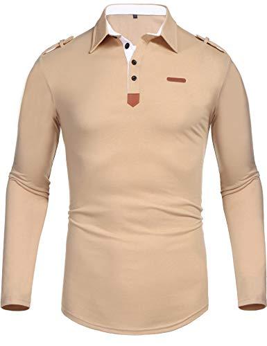 5cc0ae09 Daupanzees Men's Classic Casual Long Sleeve Plaid Collar Jersey Polo Shirt