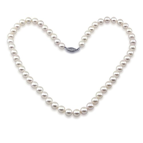 14k White Gold 7.0-7.5mm High Luster White Japanese Akoya Cultured Pearl Necklace 18'', AAA Quality by Akwaya