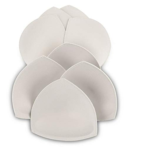 Bra Pad Inserts 4 Pairs,Sermicle Bra Pads Sewn Massaged for Sports Bra A/B or C/D Cup Beige or Black, White Optional (C/D Cup, -