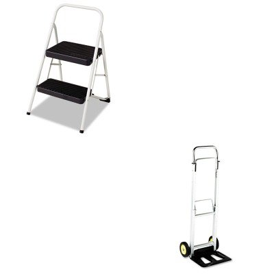 Hideaway Hand Truck (KITCSC11135CLGG1SAF4061 - Value Kit - Safco Hide-Away Aluminum Hand Truck (SAF4061) and Cosco 2-Step Folding Steel Step Stool (CSC11135CLGG1))