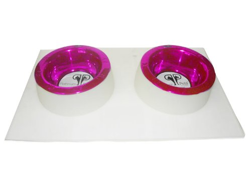 Cheap Platinum Pets 4 Cup Clear Silicone Bowl Mold Mat with Two Rimmed Bowls, Raspberry