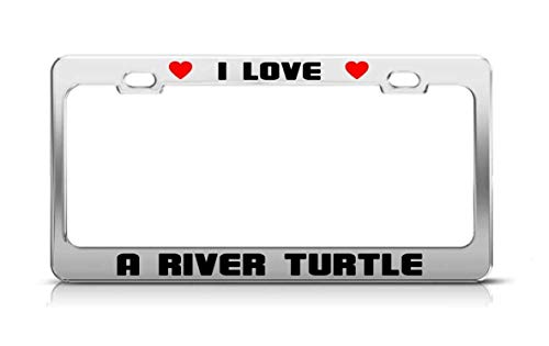 Guang trading I Love A River Turtle Animal License Plate Frame Tag ()